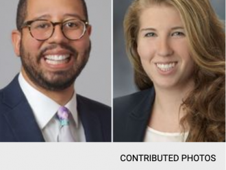 Splitscreen with image of a man named Marvin Brown on the left and woman named Rebecca Maurer on the right.