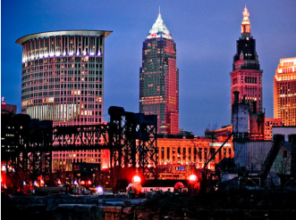 Nighttime City of Cleveland skyline from the perspective of Cuyahoga River.