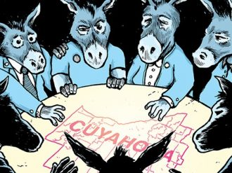 Illustration of four blue donkeys looking at a map of Cleveland in the middle of a table with