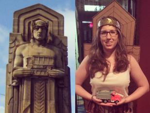 Split Screen with on the left one of the Cleveland Guardians of Transportation, an art deco sculpture featuring a man wearing a leaf crown a and holding a truck, and on the right Rebecca Maurer, a woman dressed as the Guardian of Transportation with a cardboard silhouette, gold leaf crown, and holding a toy truck on Halloween.